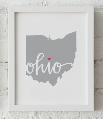 Design with Heart Studio - Art Prints - Ohio Framed Print