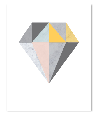 Design with Heart Studio - Art Prints - Marble Geometric Diamond Art Print