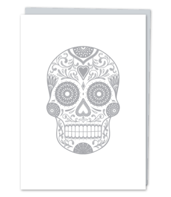 Design with Heart Studio - Greeting Cards - Silver Sugar Skull