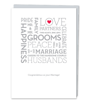 """Design with Heart Studio - Greeting Cards - """"Grooms"""" – Word Cloud"""