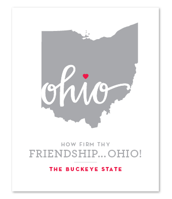 "Design with Heart Studio - Art Prints - ""How Firm Thy Friendship… Ohio!"""