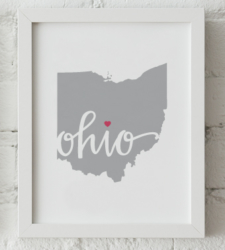 Design with Heart Studio - Art Prints Ohio Framed Print