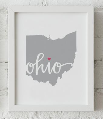 Design with Heart Studio - Art Prints - Ohio Framed Print