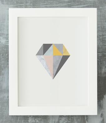 Design with Heart Studio - Art Prints - Framed Marble Geometric Diamond Art Print