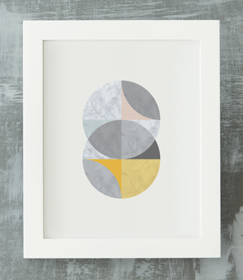 Design with Heart Studio - Art Prints - Framed Marble Intersecting Circles Art Print