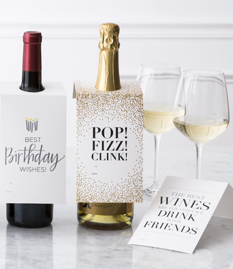 "Design with Heart Studio - Wine Bottle Gift Tags - ""Pop! Fizz! Clink!"""