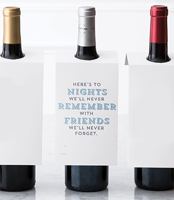 """Design with Heart Studio - Wine Bottle Gift Tags - """"Here's to the nights…"""""""