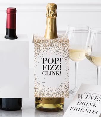 "Design with Heart Studio - Wine Bottle Gift Tags - ""Pop! Fizz! Clink!"""