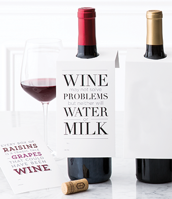 """Design with Heart Studio - Wine Bottle Gift Tags - """"Wine may not solve problems…"""""""