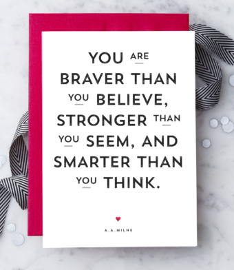 Design with Heart Studio - Greeting Cards - A.A. Milne Quote