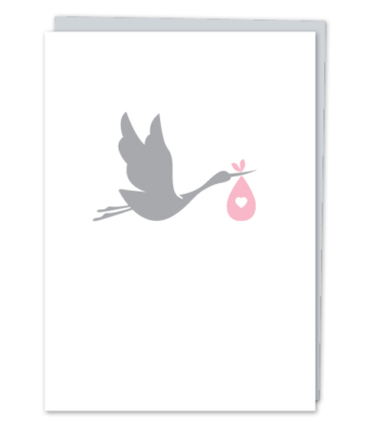 Design with Heart Studio - Greeting Cards - Baby Girl Stork