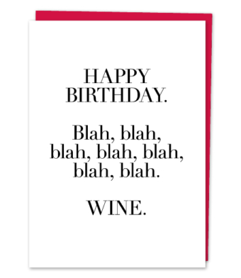 "Design with Heart Studio - Greeting Cards - ""Blah Blah Blah, Wine."""