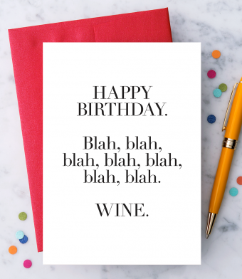 "Design with Heart Studio - Greeting Cards - ""Blah Blah Blah, Wine."""