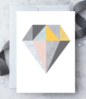 Design with Heart Studio - Greeting Cards - Marble Geometric Diamond