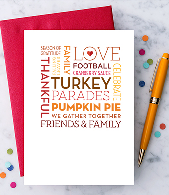 Design with Heart Studio - Greeting Cards - Thanksgiving Word Cloud