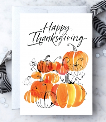 Design with Heart Studio - Greeting Cards - Happy Thanksgiving Watercolor Pumpkins